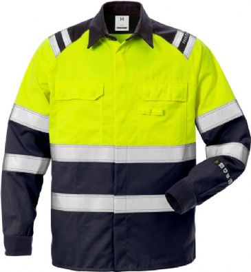 Fristads Flamestat High Vis Shirt CL 1 7051 ATS (Hi Vis Yellow/Navy)
